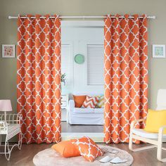 Best Home Fashion Room Darkening Blackout Moroccan Print Curtains Orange