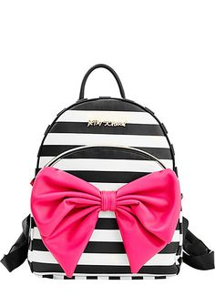 BOW TAILS BACKPACK - This Betsey Johnson backpack is too cool for (just) school! Crafted in faux leather with adjustable straps, it easily stores essentials fo Betsy Johnson Purses, Betsey Johnson Handbags, Betsey Johnson Dresses, Betsey Johnson Luggage, Betsey Johnson Mini Backpack, Cute Backpacks, Cool Backpacks For Girls, Awesome Backpacks, Cute Purses