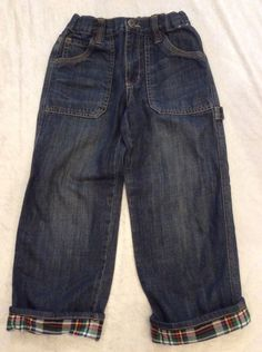 Gymboree Husky Jeans 6 Boys Classic Blue Plaid Cuffs Adjustable Waist #Gymboree #ClassicStraightLeg