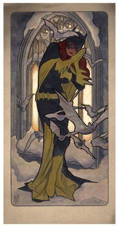 Comic book artist and illustrator Adam Hughes recently created these awesome interpretations of The Four Seasons, originally painted by Czech Art Nouveau painter Alphonse Mucha in Mucha. Adam Hughes, Comic Book Artists, Comic Artist, Comic Books Art, Dc Batgirl, Nightwing, Batwoman, Barbara Gordon, Alphonse Mucha
