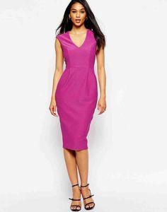 Shop ASOS Wiggle Dress with V Neck in Textured Jersey at ASOS. Nordstrom Wedding Dresses, Nordstrom Dresses, Stylish Dresses, Dresses For Work, Formal Dresses, Maxi Dresses, Party Dresses, Fuschia Dress, Short Dresses