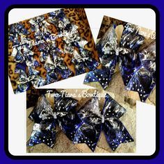 Team gift for Norman Twist and Shout jr Hope cheer bows by Two Tiara's Bowtique on Etsy or Facebook!  Check out this item in my Etsy shop https://www.etsy.com/listing/216861392/metallic-blue-silver-black-diamond-cheer
