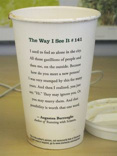 Starbucks cup quote