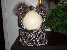 Animal print yarn cowl/hoodie for my grandbaby!