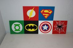 "Superhero Signs, 6"" X 6"". $25.00 for a set of 3, via Etsy.  easy to diy.  paint on coat hooks for hats and bags?  but more vintage type colors."