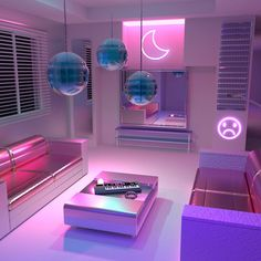 - Architecture and Home Decor - Bedroom - Bathroom - Kitchen And Living Room Interior Design Decorating Ideas - Neon Bedroom, Girls Bedroom, Bedroom Decor, Bedrooms, Bedroom Night, Dream Rooms, Dream Bedroom, Girl Bedroom Designs, Room Goals