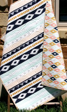 Tribal Baby Quilt, Modern Girl Bedding, Aztec Crib Cot Nursery, Southwest Arizona Art Gallery Fabrics, Coral Mint Green Navy, Girl Blanket Tribal Baby Quilt Modern Girl Bedding Aztec by SunnysideDesigns2