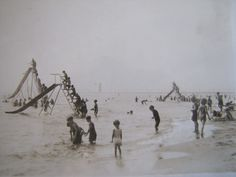 Vtg 1928 Grand Haven State Park Michigan Beach Slides RPPC Postcard