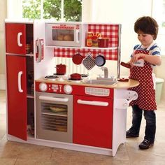Toy Kitchen Set   Wooden Pretend Play Appliance By KidKraft Gives Your  Children Hours Of Fun. Unique Red Super Chef Play Kitchen Great For Boys U0026  Girls.