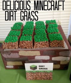 Minecraft Party Blog with tons of ideas!! Minecraft Food Sign Tent Cards - Dirt Grass Rice Krispies Treats with Green Frosting! So many more #minecraft