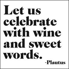 Let us celebrate with wine and sweet words. ~Plautus