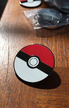Poke ball, pokemon go, Black metal Pokeball lapel pin/ enamel hat pin, limited run