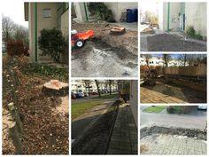 Nadat we de voor- zij- en achtertuin helemaal leeggehaald hadden, kon het opbouwen weer beginnen.