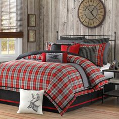 Amazon.com: 4 Piece Plaid Country Motif Comforter Set King Size, Warm Tartan Madras Scottish Style Pattern Checkered Boy Girl Unisex Bedding, Traditional Lodge Cabin Cottage Classic Guest Room, Red, Multicolored: Home & Kitchen