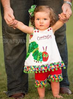 Little Girl's Custom Made The Very Hungry Caterpillar Eric Carle Dress or Outfit Perfect for Birthday Parties with its Matching Birthday Hat and Birthday Bib. Baby's First Birthday Gifts, 1st Birthday Outfits, Farm Birthday, 1st Birthday Parties, Birthday Ideas, Birthday Banners, Birthday Invitations, Caterpillar Book, Hungry Caterpillar Party