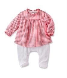94aa95e77ff1 Combiguimpe bébé fille en vichy rose Doll   blanc Ecume - Petit Bateau  Combinaison Bébé,
