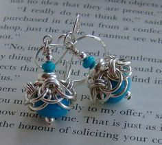 Turquoise drops silver chainmaille earrings
