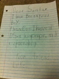 Letter to Santa...so adorable!