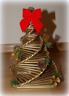 Tecelagem em jornais. Árvores de Natal. Trança em espiral. Master class