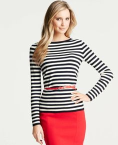 Ann Taylor - Striped Back Zip Long Sleeve Top Ann Taylor, Viernes Casual, Kinds Of Clothes, Work Fashion, Office Fashion, Fashion Ideas, Red Skirts, Passion For Fashion, Style Me