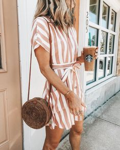 Spring Fashion 2020 Trends # spring Outfits Khaki Pockets Stripe V-neck Short Sleeve Regular Above Knee Mini Casual Fashion Dress Summer In Spring Outfits For School, Spring Outfits Women, Outfits For Teens, Summer School, December Outfits, High School, Ladies Outfits, Summer Work, School Outfits
