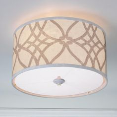 Trellis Linen Drum Shade Ceiling Light - overhead lighting for the bedroom? Ceiling Light Shades, Chandelier Shades, Ceiling Light Fixtures, Ceiling Lights, Ceiling Fans, Shabby Chic Lamp Shades, Rustic Lamp Shades, Modern Lamp Shades, Overhead Lighting