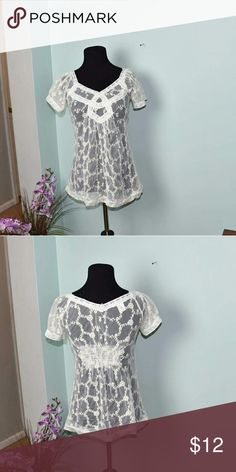Gorgeous Ivory Lace Blouse In excellent condition. Very beautiful and comfortable. Perfect for spring! Tops Blouses