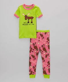 Lazy One Green   Pink  Don t Moose With Me  Pajama Set - Kids   Tween ccc50d4bd