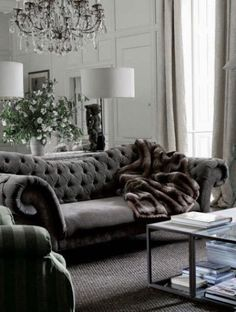 ♅ Dove Gray Home Decor ♅  gorgeous grey velvet tufted sofa
