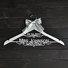 Personalized Wedding Hanger with Date, Silver Hanger,Custom Bridal Bride Bridesmaid Name Hanger, Custom Hanger with Silver Bow, Personalized Wedding Dress Hanger