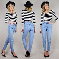 stripes and mom jeans. Jean Outfits, Cute Outfits, Fashion Outfits, Womens Fashion, Spring Fashion, Autumn Fashion, High Waisted Mom Jeans, Beautiful Outfits, Style Me