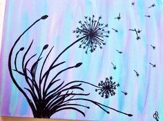 JUST DANDY - modern, abstract, dandelion painting in silhouette on a pastel blended background. 16x20 acrylic painting