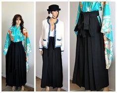 Jupe japonaise, Kimono Hakama Noir, Plissé longues Arts Martiaux Mariages Vêtements asiatique femmes cosplay Goth Game of Thrones