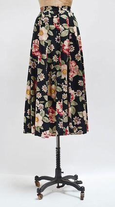 Park Days Skirt / vintage floral maxi skirt / vintage floral skirt