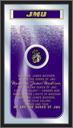 The James Madison Dukes Fight Song Mirror is the perfect way to show your school pride, proudly displaying the James Madison University logo and the verses that get the JMU Dukes fired up on game day. James Madison University, University Logo, Duke Game, Fight Song, Holland Bar Stool, Thing 1, School Logo, Bar Stools, Verses