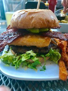 [I ate] A crispy tempura-fried white cheddar bourbon-glazed onions candied bacon avocado and lettuce cheeseburger [OC][3024x4032]