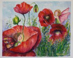 Fairyland, Original Watercolor Flower Painting, aquarelle, Fairy Illustration,Poppies, floral art,Botanical Art, green, red