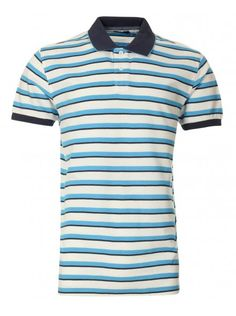 Men White Stripe Print Polo Dry T-shirt.Polo collar and button placket. Stripe Print, Fathers Day Gifts, Gift Guide, Polo Shirt, Mens Tops, Blue, Fashion, Moda, Polos