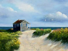 """""""Outermost House"""" of Henry Beston.  Oil Painting by Kathryn Kleekamp,  Cape Cod Artist and Author  www.sandwichart.com"""