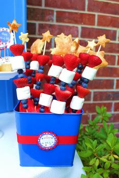 Patriotic fruit kabobs  Fourth of July Food, Crafts, and Activities