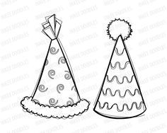 Vintage Clip Art Party Hats Birthday Celebrations Cute Kids Drawing Sketches Kid Birthdays Digital Stamps Onesie Colouring