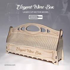 Elegant wine box horizontal. Horizontal position of bottle. Art nouveau style. Lasercut vector model / project plan with engraving.