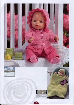 Album Archive - Dukketøj til Baby Born 2 - Ingelise Knitted Doll Patterns, Knitted Dolls, Baby Knitting Patterns, Crochet Toys, Knitting Dolls Clothes, Doll Clothes Patterns, Baby Born Clothes, Doll Costume, Album