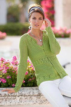 lime green crochet sweater