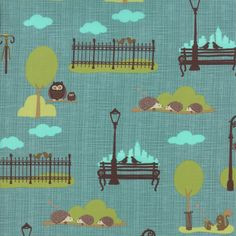 Bluebird Park, City Park Scenic in Teal // Moda Fabrics at Juberry Old Country Stores, Modern Fabric, Papers Co, Park City, Blue Bird, Green And Grey, Printing On Fabric, Sewing Projects, Kids Rugs