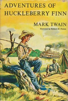 The Adventures of Huckleberry Finn by Mark Twain: Historical Fiction. This is a story about the different adventures Huckleberry Finn experiences and the different lessons he learns along with his adventures. Classic Literature, Classic Books, American Literature, Children's Literature, Books To Read, My Books, Music Books, Better Books, Adventures Of Huckleberry Finn
