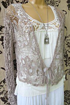 Beautiful Crochet lace Bolero   www.parisrags.com