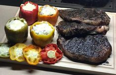 Traegered up A  #Dinner Last Night it doesn't get much better than #Steak  and Stuffed Bell Peppers   . . . #Traeger #TraegerGrills #TraegerNation #Smoked #Beautiful #BBQ #Raiders #Foodie #FoodPorn #InstaFood #InstaGood #FoodStagram #Grilling #Beer #FoodGasm #Protein #Meat #BombDotCom #Food #Bomb #Insta #InstaLike #CertifiedGrillLover #ManMeatBBQ #Barbeque #BBQNation #BbqnWithJJ Reposted Via @bbqnwithjj
