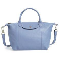Women's Longchamp 'Le Pliage Cuir' Leather Handbag (29.425 RUB) ❤ liked on Polyvore featuring bags, handbags, blue mist, blue purse, hand bags, tote purses, leather purses and leather tote bags