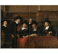 Rembrandt van Rijn (1662), The Sampling Officials of the Amsterdam Drapers' Guild, Known as 'The Syndics', oil on canvas, 191,5 x 279 cm. Collection Rijksmuseum.